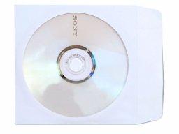 Porta CD carta kraft 90 g/mř, bianca, con finestra