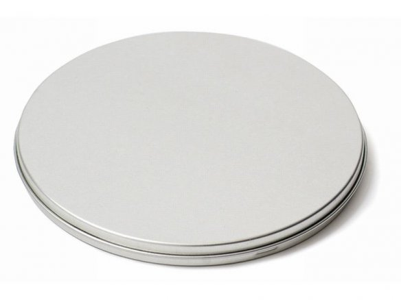 Round tinplate container for CDs, silver