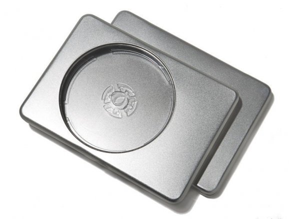 Rectangular tinplate container for DVDs, silver