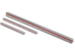 Triangular scale ruler, aluminium