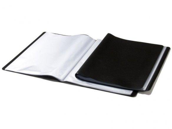 Carpeta con fundas, sencilla, tapa blanda, negra