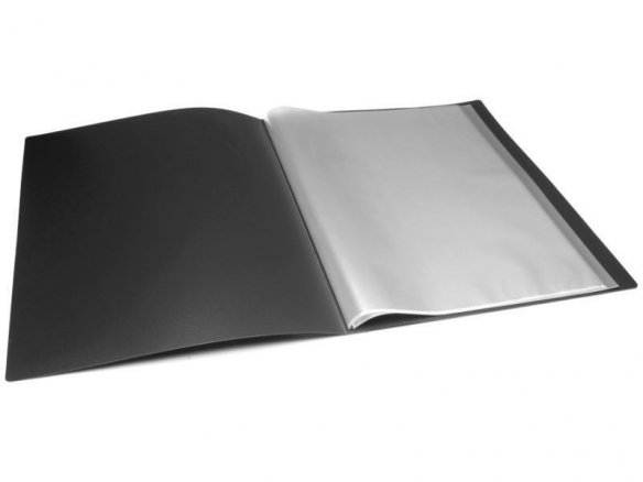 Display book, large, w. front pocket, black