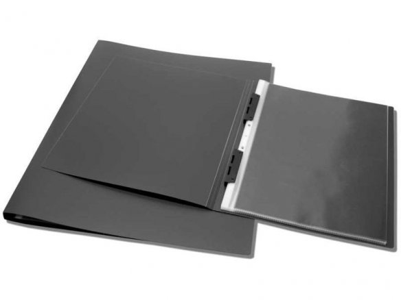 Carpeta con fundas removibles grande, negra