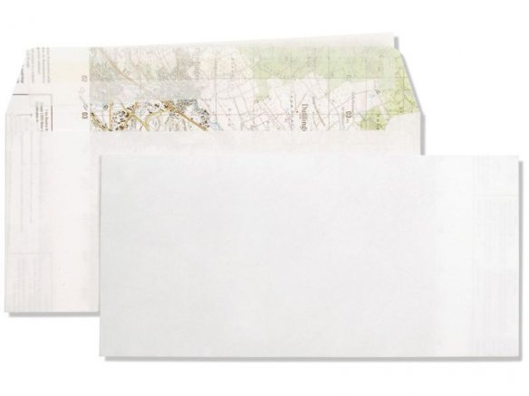 Envelope made from map, white, map on the inside