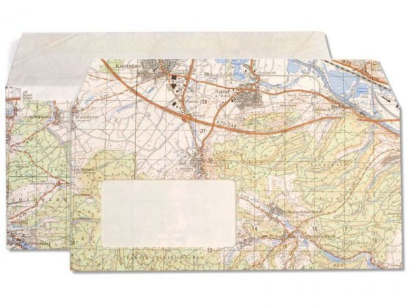 Envelope made from a map, coloured, map on outside