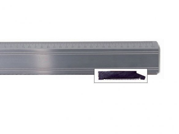 Aluminium cutting ruler, with steel edge, thick
