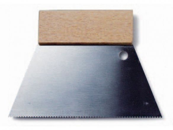 Serrated scraper, steel, wooden handle