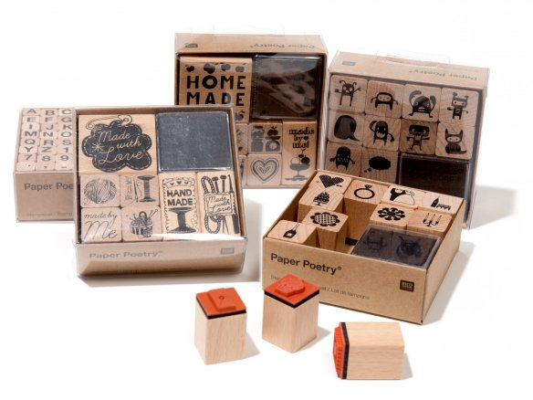 Paper Poetry stamp set, flat
