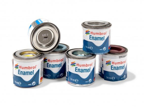 Humbrol model paint, metal colours