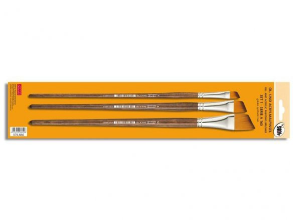 Oil/Acrylic Paint. Brush Set, synth., long handled