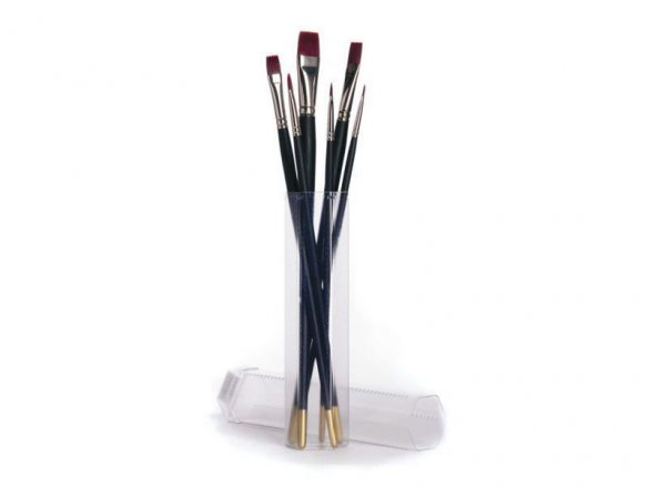 Set of 6 Acrylic Brush., synth., w. transport tube