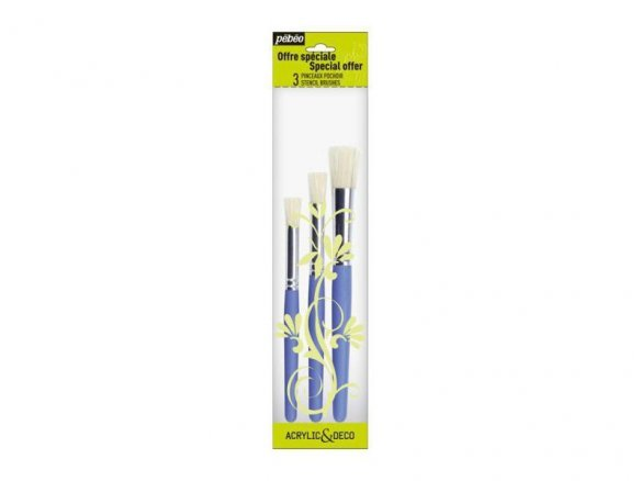 Pebeo template brush set, short handle