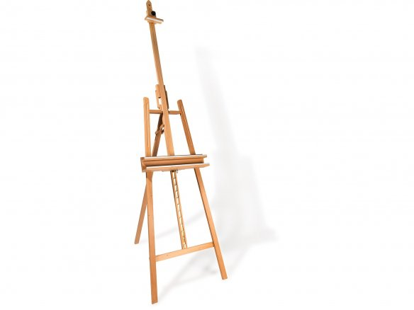 A-frame studio easel, metal ratchet, inclinable
