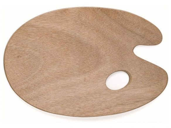 Wooden palette with thumb hole