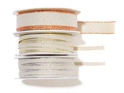 Fabric ribbon with metallic border