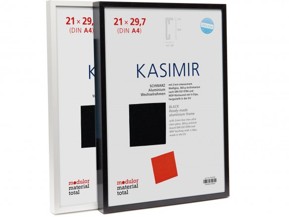 Interchangeable picture frame Alu Kasimir, narrow, flat moulding