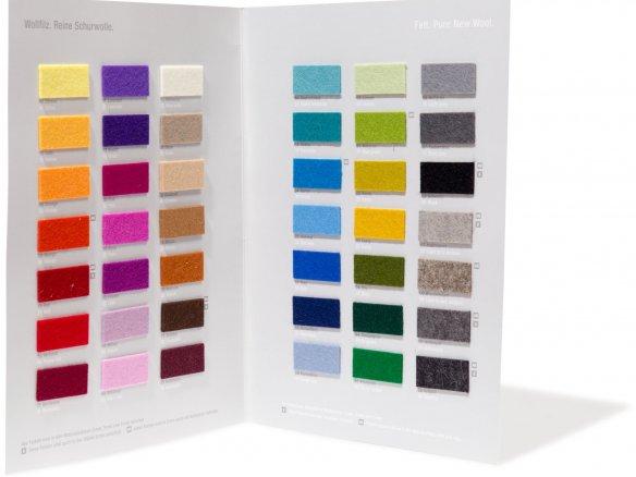 100% Wollfilz Zuschnitte (Tischsets), Farbkarte
