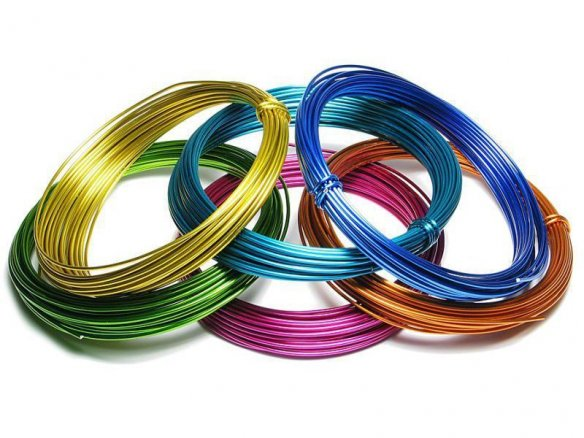 Aluminium wire, coloured, unstraightened