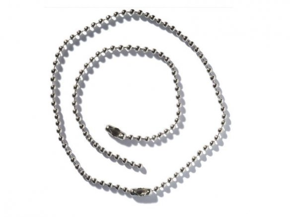 Bead chain, nickel-plated, with fastener
