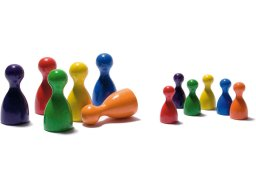 Wooden game pieces, coloured