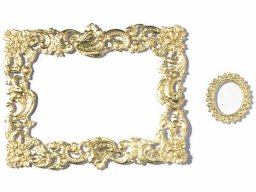Stamped cardboard pieces, embossed, frames