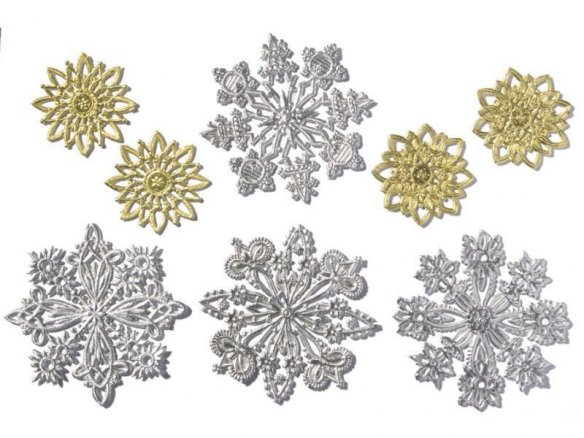 Stamped cardboard pieces, embossed, rosettes