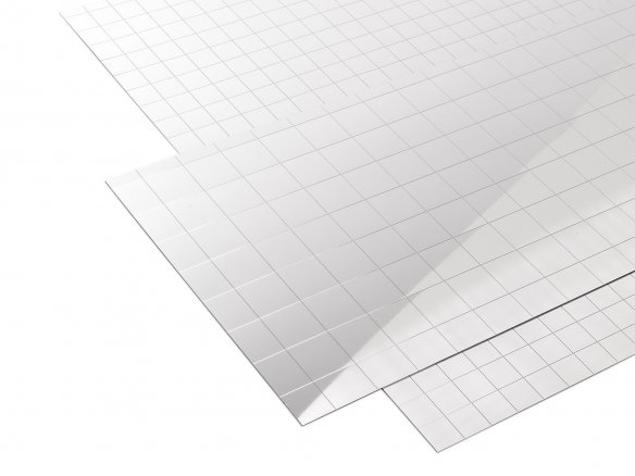 Polystyrene mirror, self-adhesive, 20 mm squares