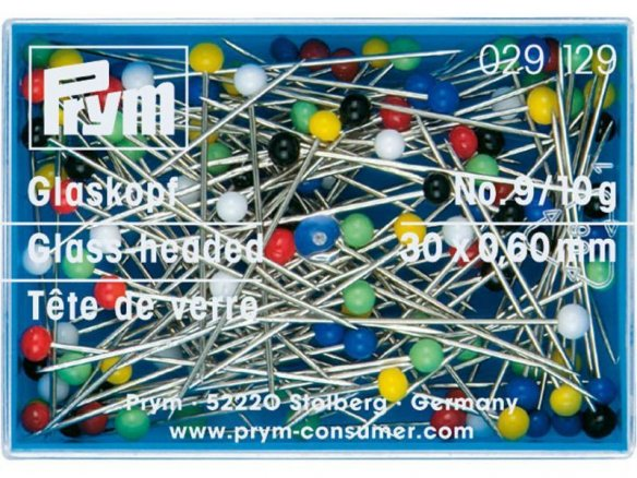 Prym glass-headed pins, coloured, hardened steel