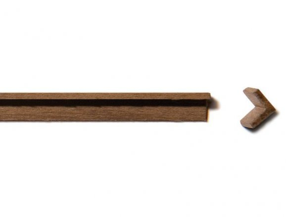 Walnut wood L-angle strip, equilateral