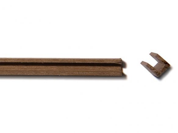 Walnut wood U-channel strip, equilateral