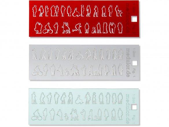 Siluetas de vidrio acrílico, corte laser, 1:200