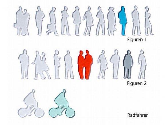 Acrylic silhouette figures, laser cut, 1:100