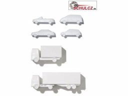 Vehicles, polystyrene, white, 1:100