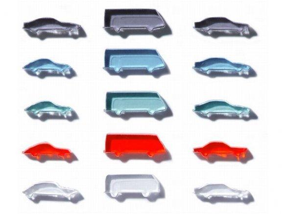 Automobili in vetro acrilico, taglio laser, 1:500