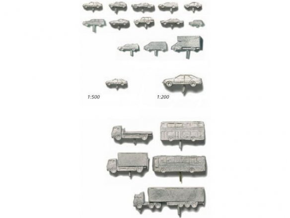 Vehicles, metal, unpainted, 1:500