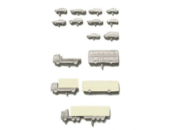 Vehicles, metal/PUR, unpainted, 1:200
