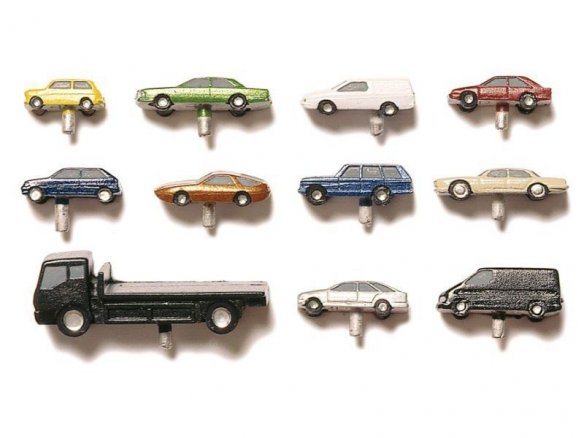 Coches de metal/PUR, coloreados, 1:200