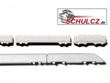 Trains, polystyrene, white, 1:500