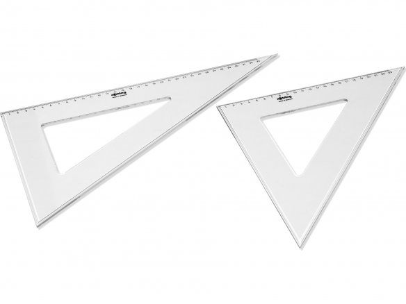 Rotring plastic set square (triangle), colourless, set of 2