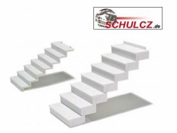 Straight stairs 35°, polystyrene, white