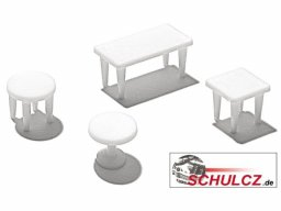 Tables, white, 1:100