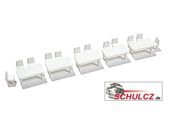 Tables and chairs in a set, white, 1:100