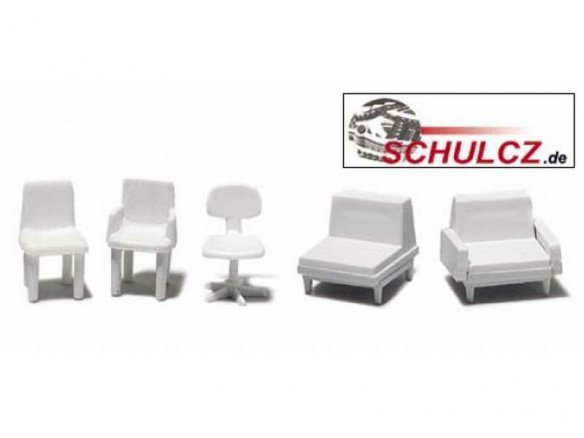 Chairs, white, 1:50