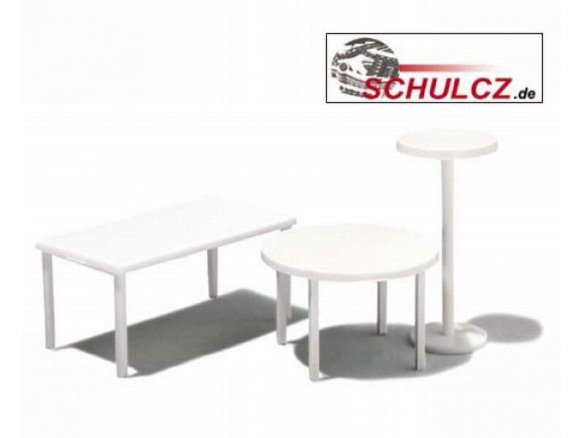 Tables, white, 1:25