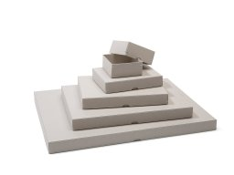 Folding box with lid, stapled, grey board