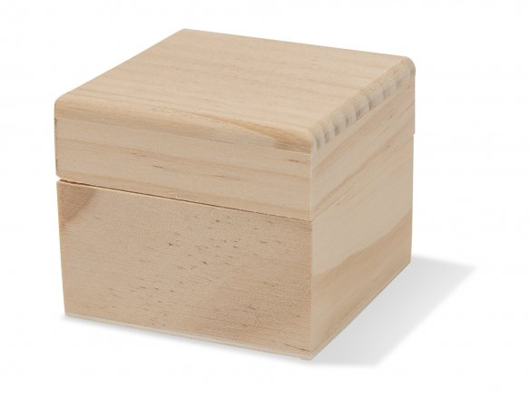 Wooden box with lid, rectangular