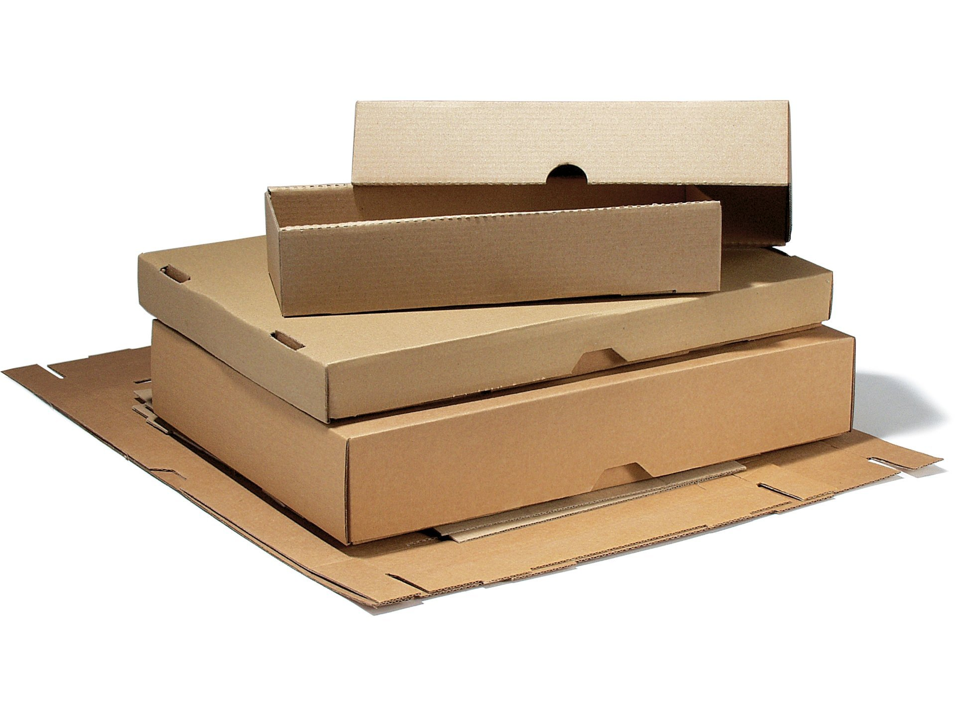 slip lid box, lid and box stamped out of micro-corrugated board, brown ...