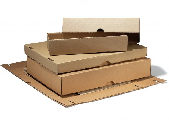 Folding box with lid, corrugated board, brown