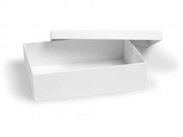 Rectangular cardboard box, untreated, white