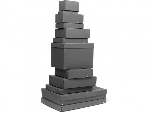 Riveted cardboard boxes with lids, anthracite